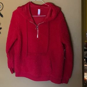 New red Girls pull over hoodie